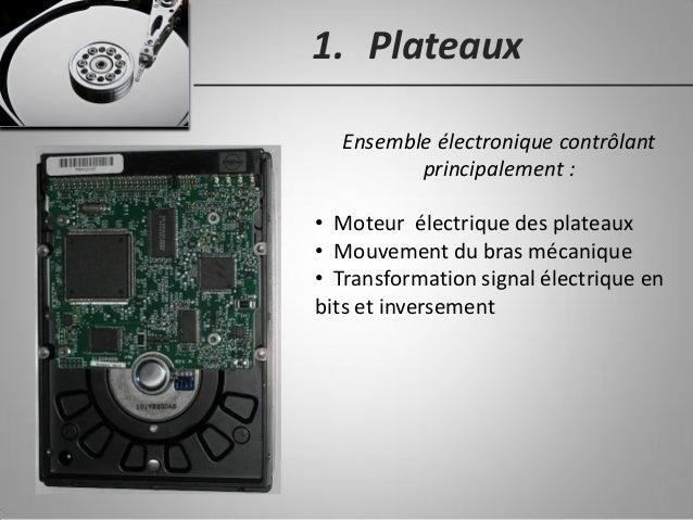 1. Plateaux Ensemble électronique contrôlant principalement : • Moteur électrique des plateaux • Mouvement du bras mécaniq...
