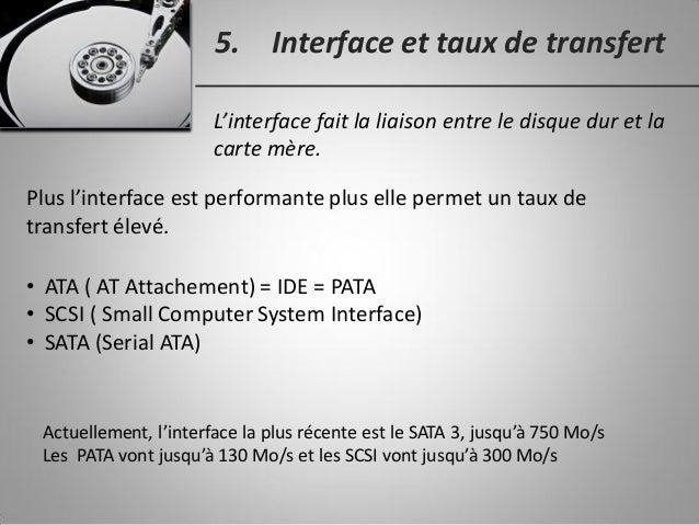 5. Interface et taux de transfert L'interface fait la liaison entre le disque dur et la carte mère. • ATA ( AT Attachement...