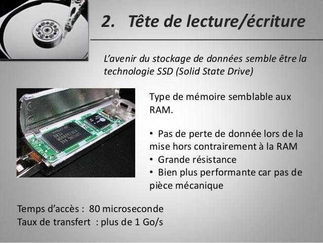 2. Tête de lecture/écriture L'avenir du stockage de données semble être la technologie SSD (Solid State Drive) Type de mém...