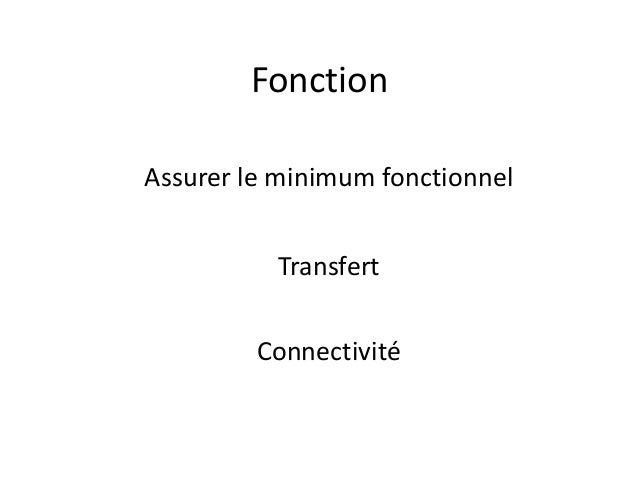 Fonction Assurer le minimum fonctionnel Transfert Connectivité