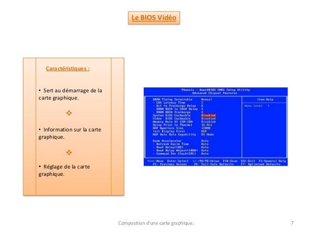 Le BIOS Vidéo Caractéristiques : • Sert au démarrage de la carte graphique.  • Information sur la carte graphique. Compos...