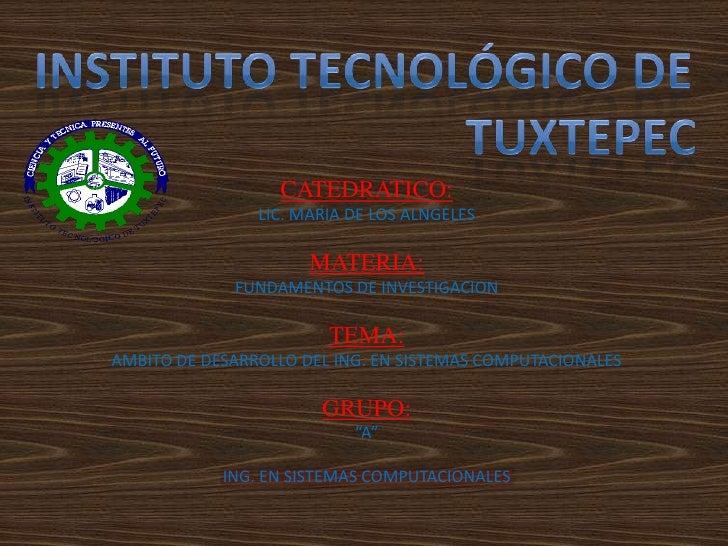 INSTITUTO TECNOLÓGICO DE   <br /> TUXTEPEC<br />CATEDRATICO:<br />LIC. MARIA DE LOS ALNGELES<br />MATERIA:<br />FUNDAMENTO...