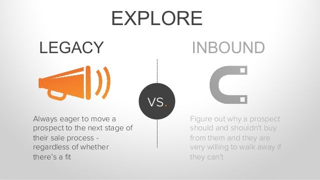 EXPLORE INBOUND vs. LEGACY Always eager to move a prospect to the next stage of their sale process - regardless of whether...