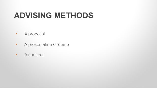 For the purpose of this training, a presentation or demo will be used as an example.