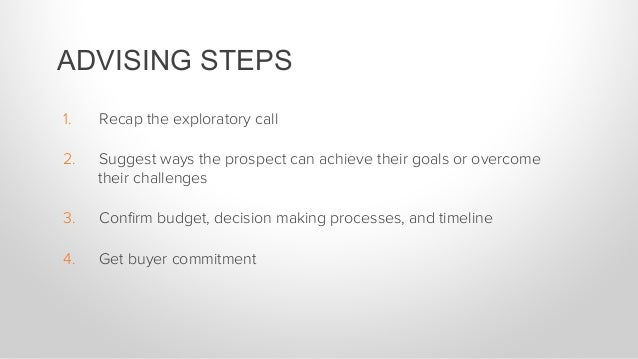 1. Recap the exploratory call 2. Suggest ways the prospect can achieve their goals or overcome their challenges 3. Confi...