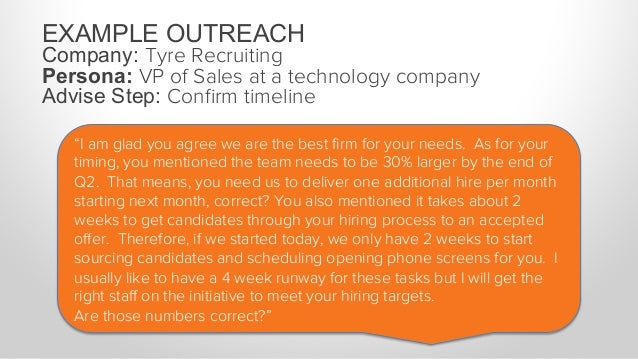 """EXAMPLE OUTREACH Company: Tyre Recruiting Persona: VP of Sales at a technology company Advise Step: Confirm budget buy-in """"..."""