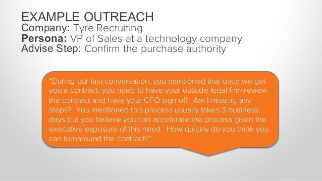 EXAMPLE OUTREACH Company: Tyre Recruiting Persona: VP of Sales at a technology company Advise Step: Confirm the purchase au...