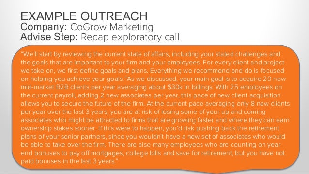 """EXAMPLE OUTREACH Company: CoGrow Marketing Advise Step: Recap exploratory call """"In short, it's critical that you increase ..."""