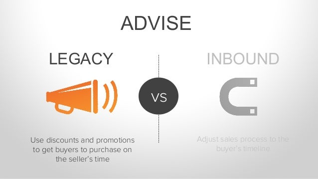 Adjust sales process to the buyer's timeline INBOUND vs Use discounts and promotions to get buyers to purchase on the sell...