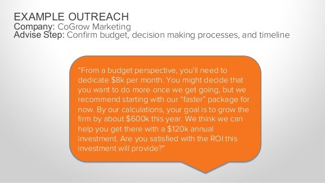 """EXAMPLE OUTREACH Company: CoGrow Marketing Advise Step: Confirm budget, decision making processes, and timeline """"Given that..."""