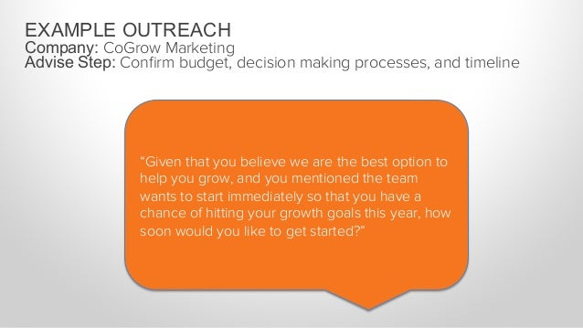 """EXAMPLE OUTREACH Company: CoGrow Marketing Advise Step: Confirm budget, decision making processes, and timeline """"There are ..."""
