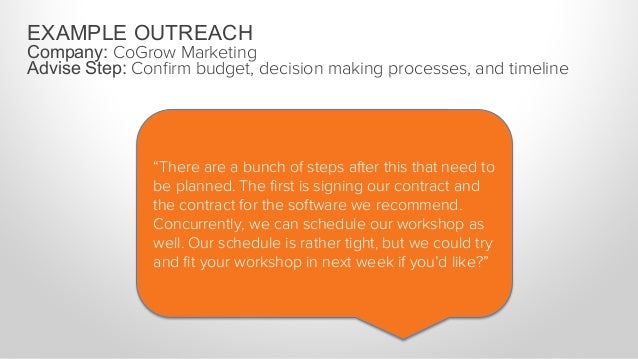 """EXAMPLE OUTREACH Company: CoGrow Marketing Advise Step: Confirm budget, decision making processes, and timeline """"During our..."""