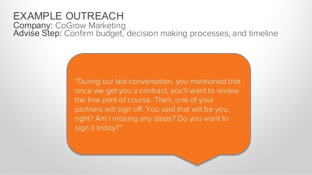 """EXAMPLE OUTREACH Company: CoGrow Marketing Advise Step: Confirm budget, decision making processes, and timeline """"Okay. I wi..."""
