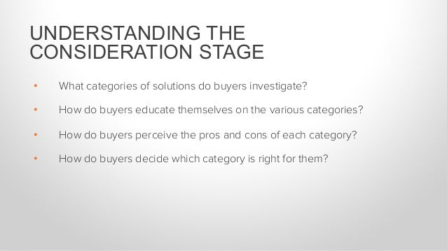 • What categories of solutions do buyers investigate? • How do buyers educate themselves on the various categories? • H...