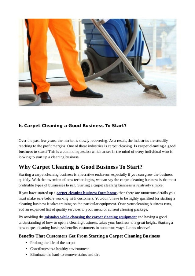 Is Carpet Cleaning A Good Business To Start