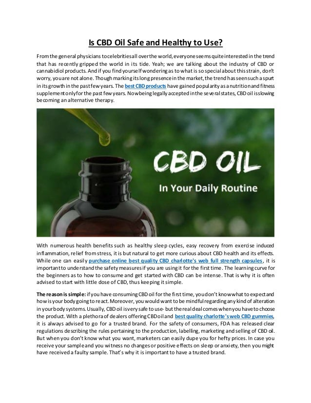 Is CBD Oil Safe to Use For Someone in ...windmillwellnessranch.com
