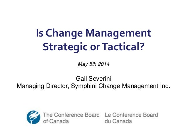 Is Change Management Strategic orTactical? May 5th 2014 Gail Severini Managing Director, Symphini Change Management Inc.