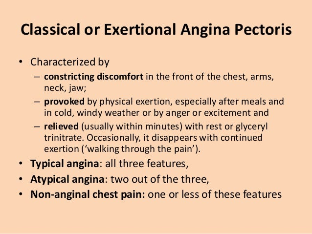 Types of Angina • Stable Angina: episodic clinical syndrome where there is no change in severity of attacks. • Unstable an...