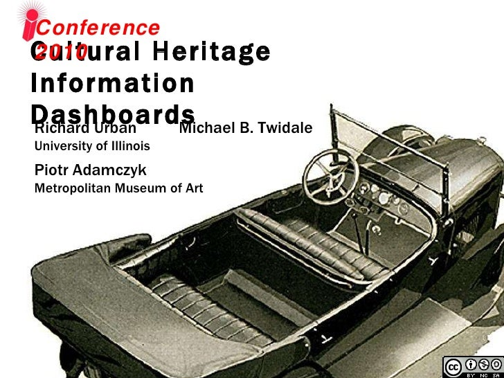 Cultural Heritage  Information Dashboards  Conference 2010 Richard Urban  Michael B. Twidale University of Illinois Piotr ...
