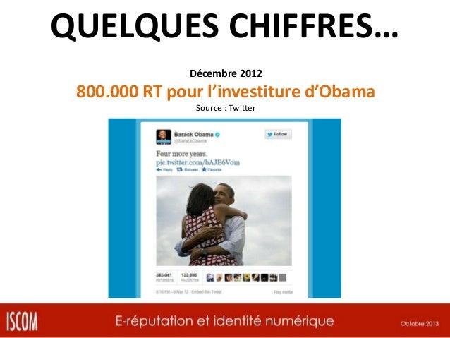 QUELQUES CHIFFRES… Décembre 2012  800.000 RT pour l'investiture d'Obama Source : Twitter