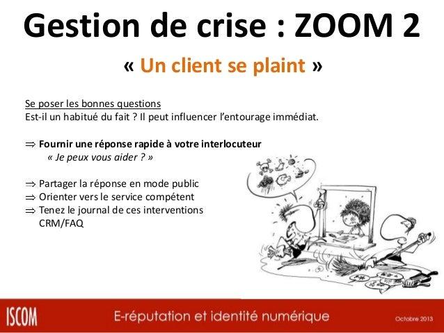 Gestion de crise : ZOOM 3 « Un leader d'option porte réclamation » Se poser les bonnes questions Est-il un habitué du fait...