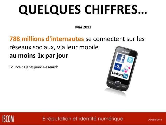 QUELQUES CHIFFRES… Mai 2012  788 millions d'internautes se connectent sur les réseaux sociaux, via leur mobile au moins 1x...