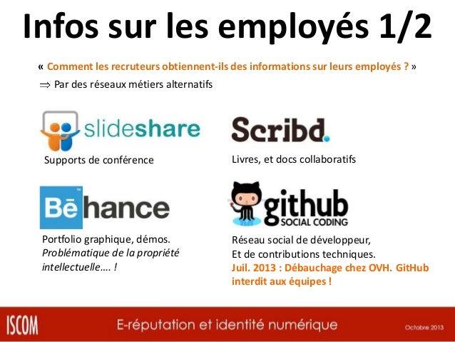 Infos sur les employés 2/2 « Comment les recruteurs obtiennent-ils des informations sur leurs employés ? » Par des réseaux...