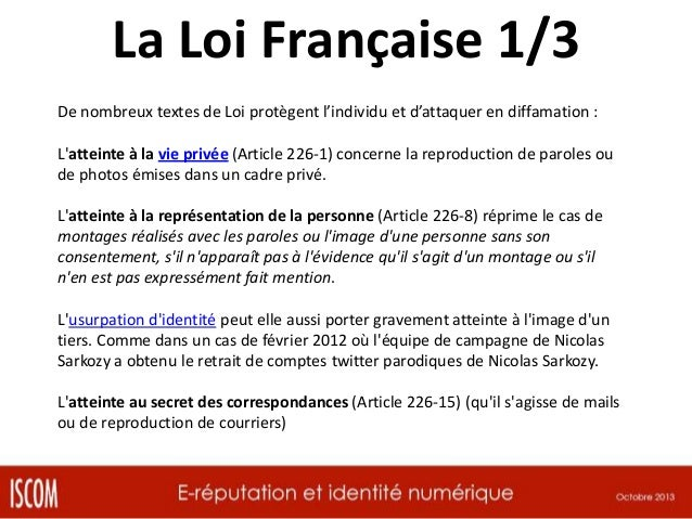 La Loi Française 2/3 En France, les propos tenus sur Facebook, pourtant initialement ressenti comme faisant partie de l'es...