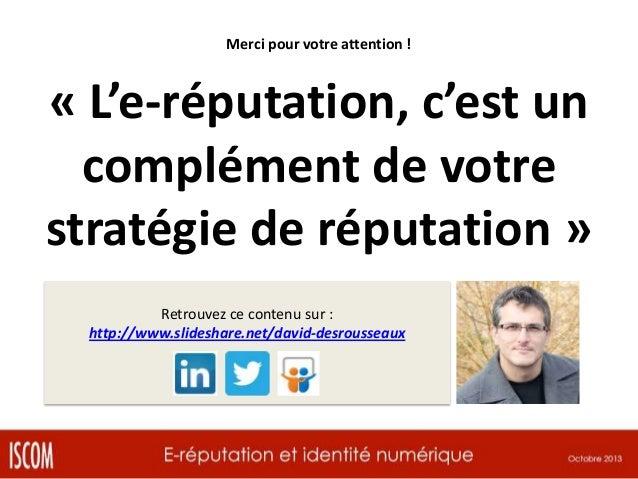 Conférence sur l'E-réputation - Oct 2013