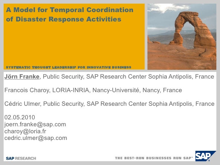 A Model for Temporal Coordination of Disaster Response Activities Jörn Franke , Public Security, SAP Research Center Sophi...