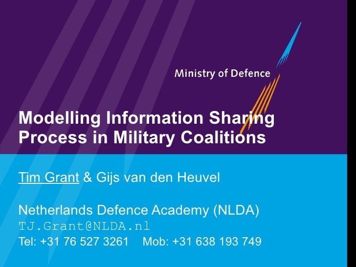 Modelling Information Sharing Process in Military Coalitions Tim Grant  & Gijs van den Heuvel Netherlands Defence Academy ...