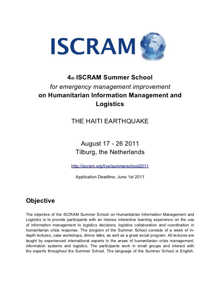 4th ISCRAM Summer School          for emergency management improvement       on Humanitarian Information Management and   ...