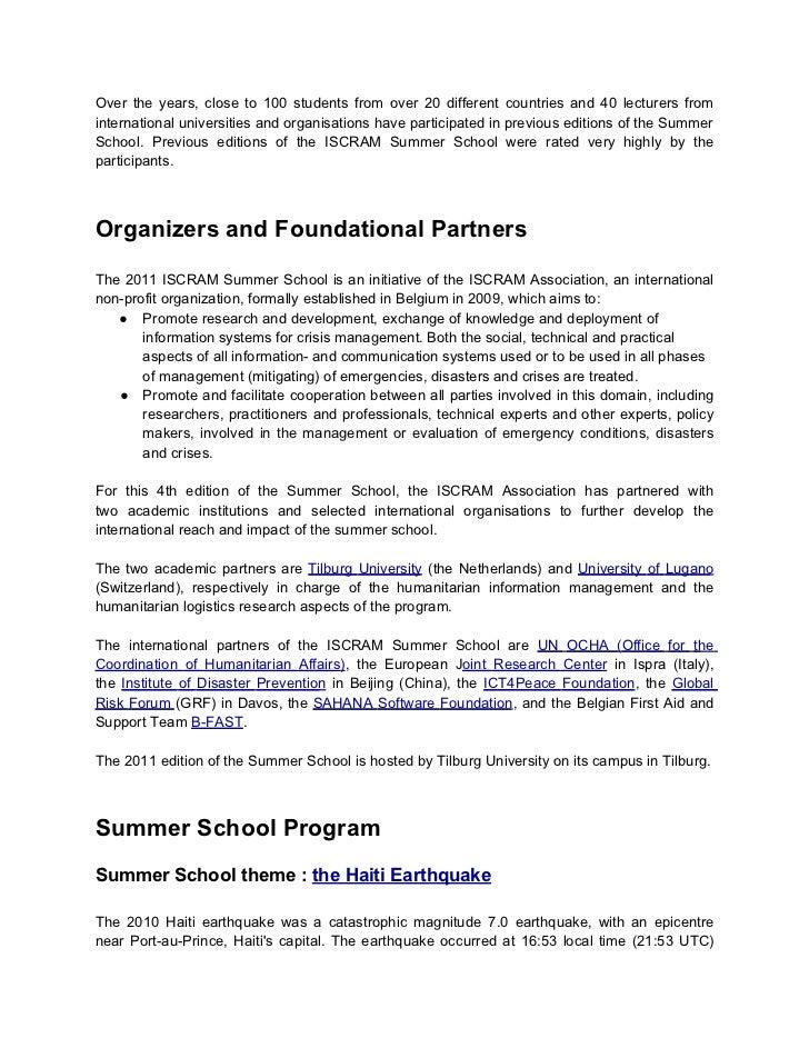 ISCRAM Summer School 2011 Call for Participants Slide 2
