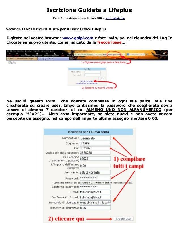 Iscrizione guidata back office lifeplus golpi.com