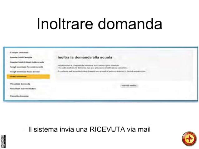 Inoltrare domanda Il sistema invia una RICEVUTA via mail