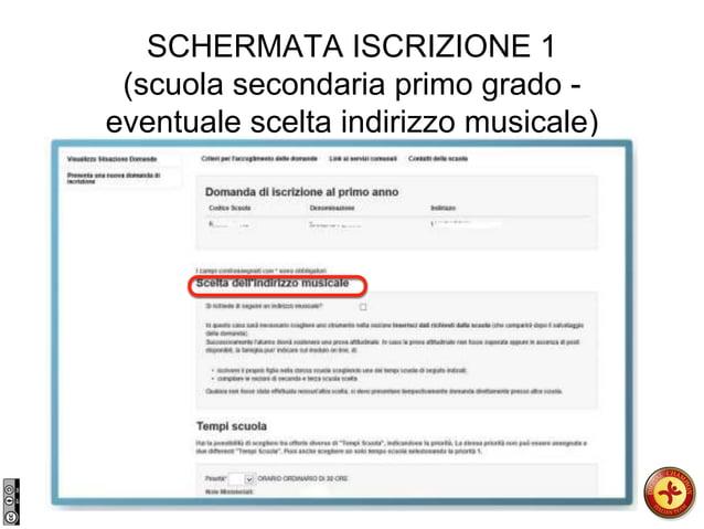 SCHERMATA ISCRIZIONE 1 (scuola secondaria primo grado - eventuale scelta indirizzo musicale)