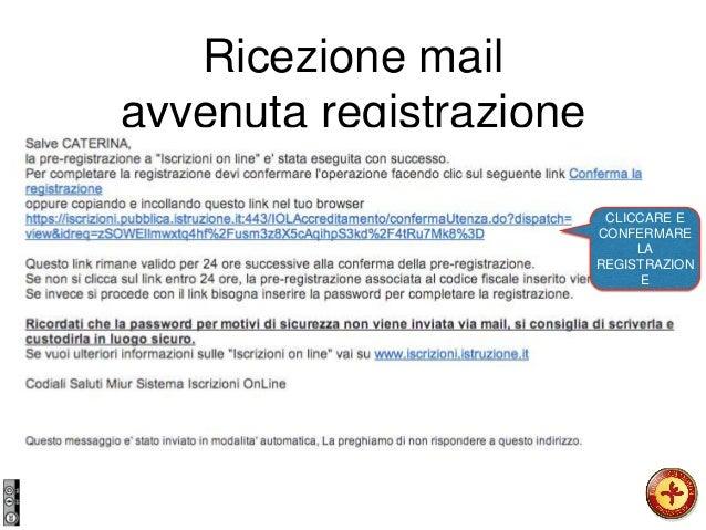 Ricezione mail avvenuta registrazione CLICCARE E CONFERMARE LA REGISTRAZION E