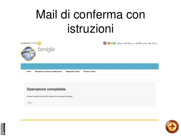 Mail di conferma con istruzioni