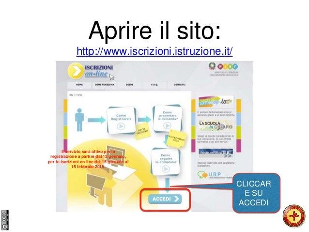 Aprire il sito: http://www.iscrizioni.istruzione.it/ CLICCAR E SU ACCEDI Il servizio sarà attivo per la registrazione a pa...