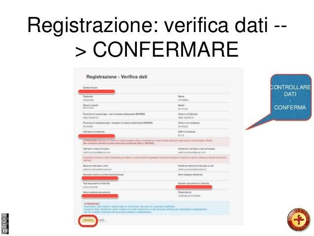Registrazione: verifica dati -- > CONFERMARE CONTROLLARE DATI - CONFERMA
