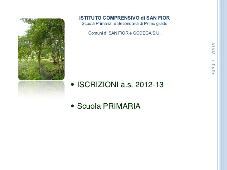 ISTITUTO COMPRENSIVO di SAN FIOR    Scuola Primaria e Secondaria di Primo grado                                Comuni d...