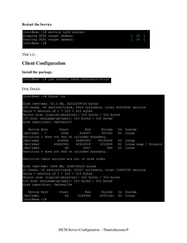 ISCSI server configuration
