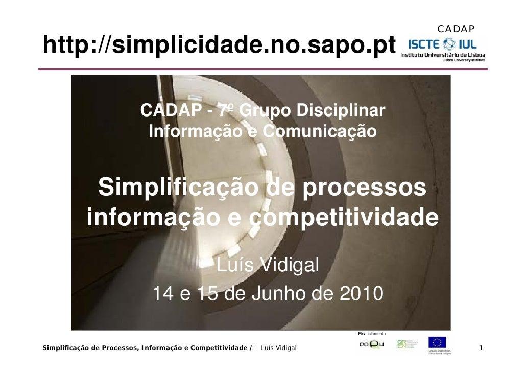 CADAP  http://simplicidade.no.sapo.pt                              CADAP - 7º Grupo Disciplinar                           ...