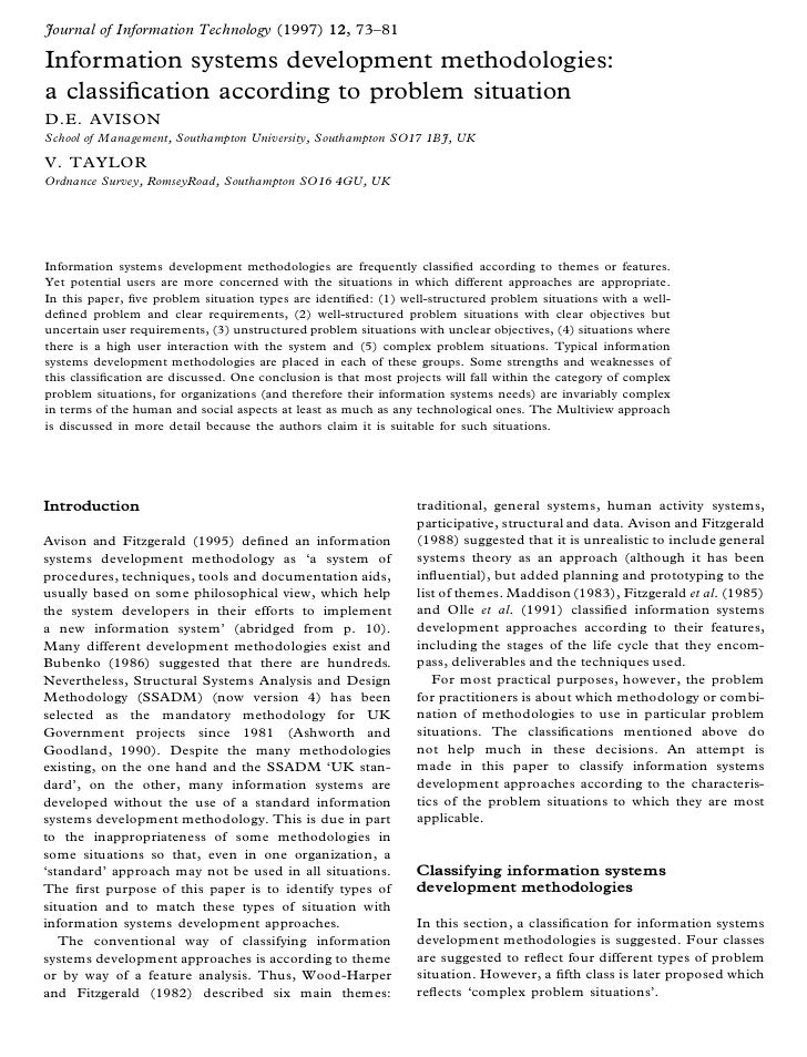 Journal of Information Technology (1997) 12, 73± 81  Information systems development methodologies: a classi® cation accor...