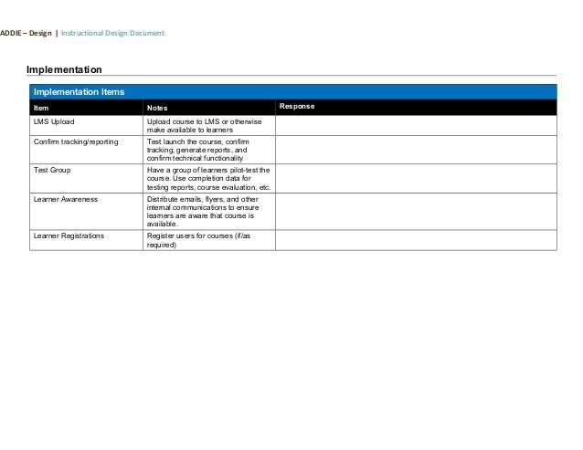 addie instructional design template