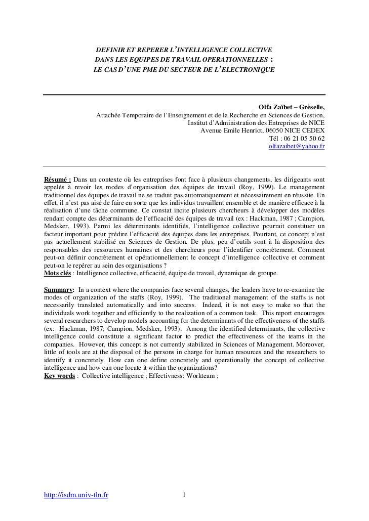 DEFINIR ET REPERER L'INTELLIGENCE COLLECTIVE                   DANS LES EQUIPES DE TRAVAIL OPERATIONNELLES :              ...