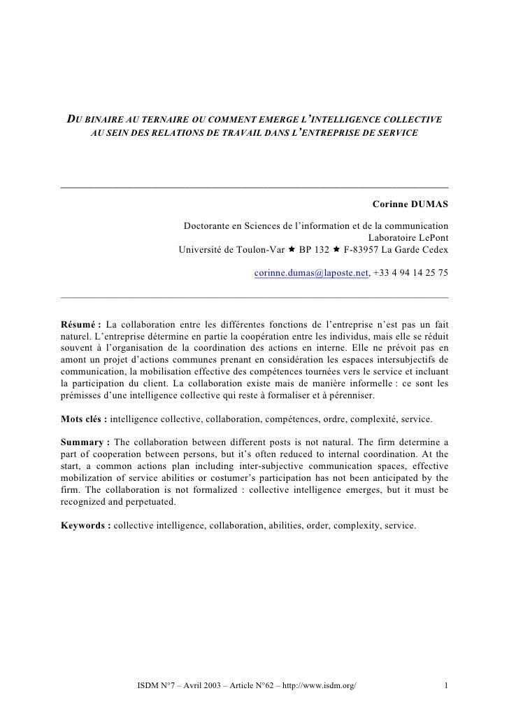 DU BINAIRE AU TERNAIRE OU COMMENT EMERGE L'INTELLIGENCE COLLECTIVE     AU SEIN DES RELATIONS DE TRAVAIL DANS L'ENTREPRISE ...