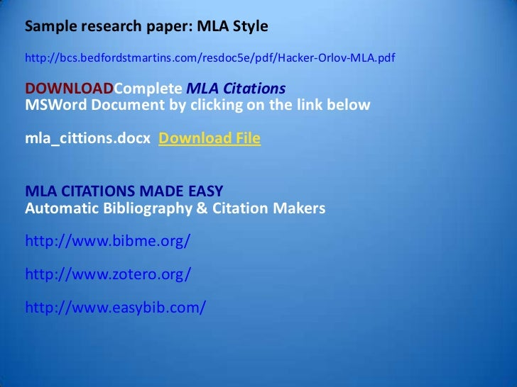 mla citation in research papers