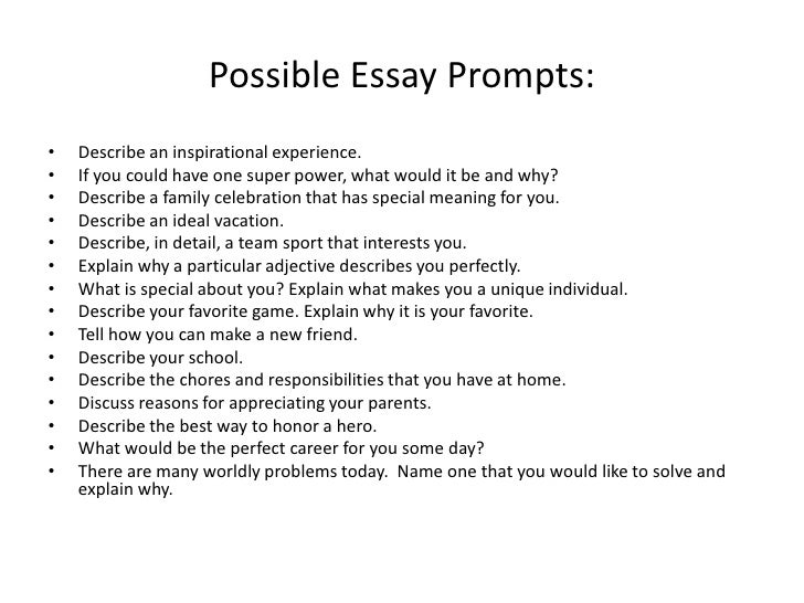 in class essay prompts