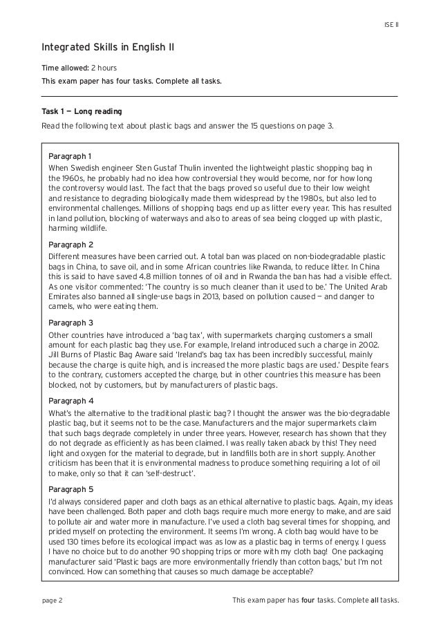 Trinity Integrated Skills In English Ii Sample Paper 1 (With Answers)